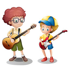 Two boys playing guitar vector image