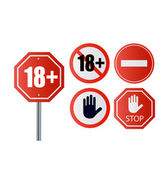 Up to 18 not allowed sign older than 18 number vector