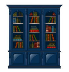 vintage bookcase blue filled with books library vector image