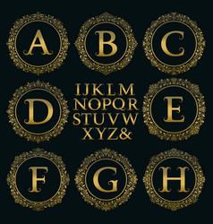 Vintage monogram kit golden letters round frames vector