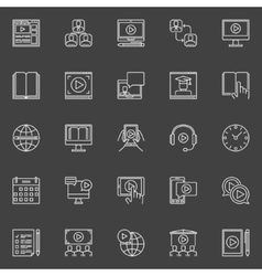Webinar linear icons set vector