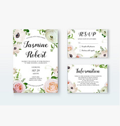 Wedding invitation invite card design with rose vector