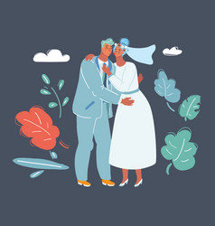 wedding pair hugging and kissing vector image