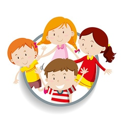 Boys and girls in round badge vector image vector image