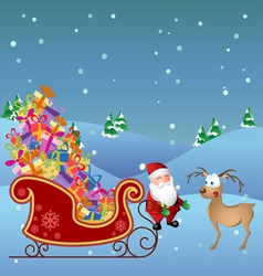 Cartoon Santa with deer and sled vector image