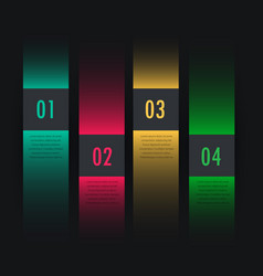 dark colorful infographic four steps vector image vector image