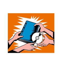 Hands Exchange Book and CD Disk vector image