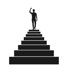 Man silhouette on the top of stairs vector image