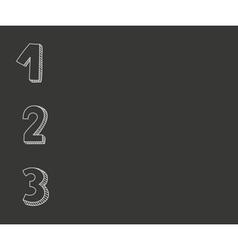 1 2 3 numbers on black chalkboard background vector image