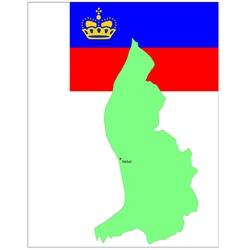 6142 liechtenstein map and flag vector image vector image