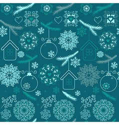Blue christmas seamless pattern with snowflakes on vector image vector image