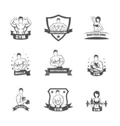 Bodybuilding fitness gym label black vector image vector image
