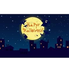 cartoon happy halloween City on background of the vector image