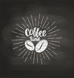 chalk lettering coffee time on black board vector image