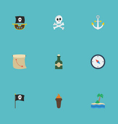 Flat icons vessel flame cranium and other vector