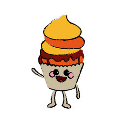 kawaii cupcake food celebration party vector image
