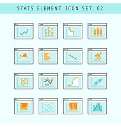 Line Flat Icons Statistic Elements Set 02 vector image vector image