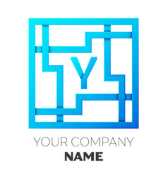 realistic letter y logo in colorful square maze vector image vector image