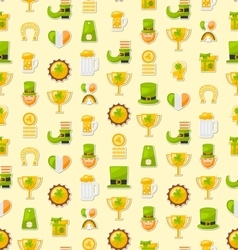 Seamless Template with Cartoon Colorful Flat Icons vector image