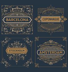 set of four vintage designs vector image vector image