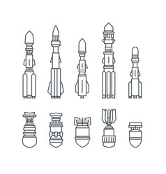 set of military missiles and ammunition vector image