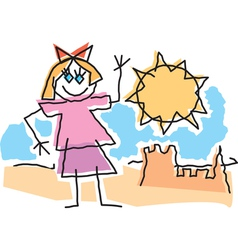 Beach Girl Drawing vector image