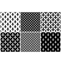 fleur de lis seamless patterns set in black vector image vector image