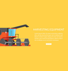 harvesting equipment web banner with text vector image vector image