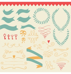 romantic set with labels ribbons hearts vector image