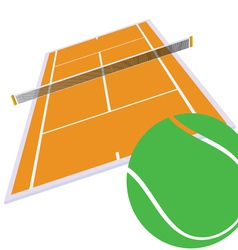 tennis court and green ball vector image