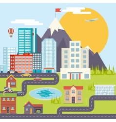 Urban Landscape City Real Estate Mountain Forest vector image