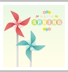 Hello spring background with colorful pinwheels 2 vector image vector image