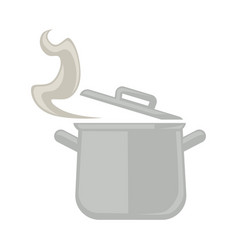 metal saucepan with open cover and steam isolated vector image