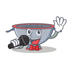 Singing colander utensil character cartoon vector