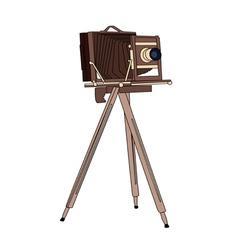 Wooden classic retro camera vector image