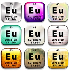 A button showing the element europium vector