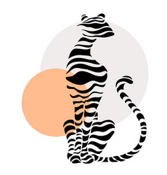 Abstract silhouettes of big cat vector