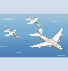 aerial refuelling isometric composition vector image
