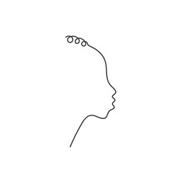 african non-binary face in profile with curly vector image