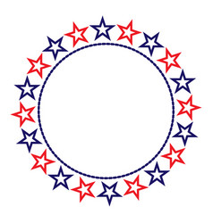 American flag symbols stars round border vector