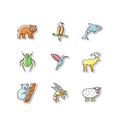 animal species printable patches vector image