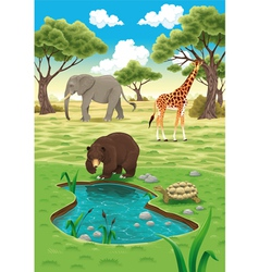Animals in nature vector