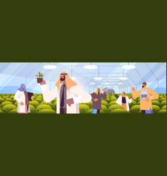 Arab agricultural engineers researching plants vector