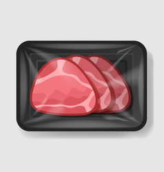 baked glazed ham in plastic tray container with vector image