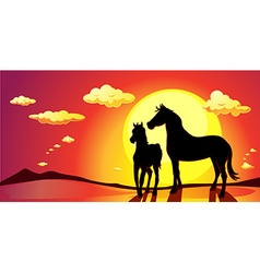 banner TOWN LANDSCAPE IN SUNSET vector image