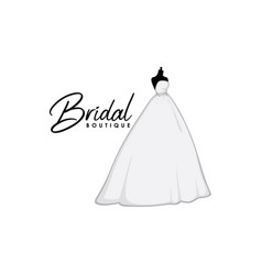 beautiful monochrome bridal boutique logo sign vector image