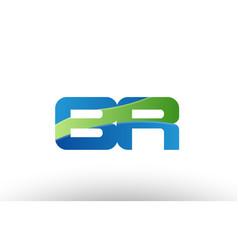 Blue green br b r alphabet letter logo vector