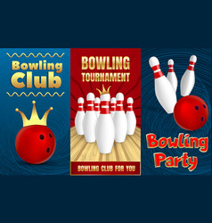 bowling party banner set realistic style vector image
