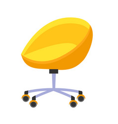 bright yellow office chair isolated vector image