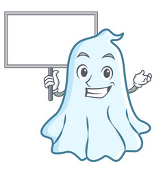 bring board cute ghost character cartoon vector image